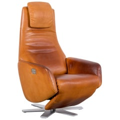 FSM Skye Designer Leather Armchair Brown One-Seat Recliner TV Chair Relax