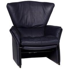 FSM Unus Leather Armchair Blue Dark Blue Relaxation Function