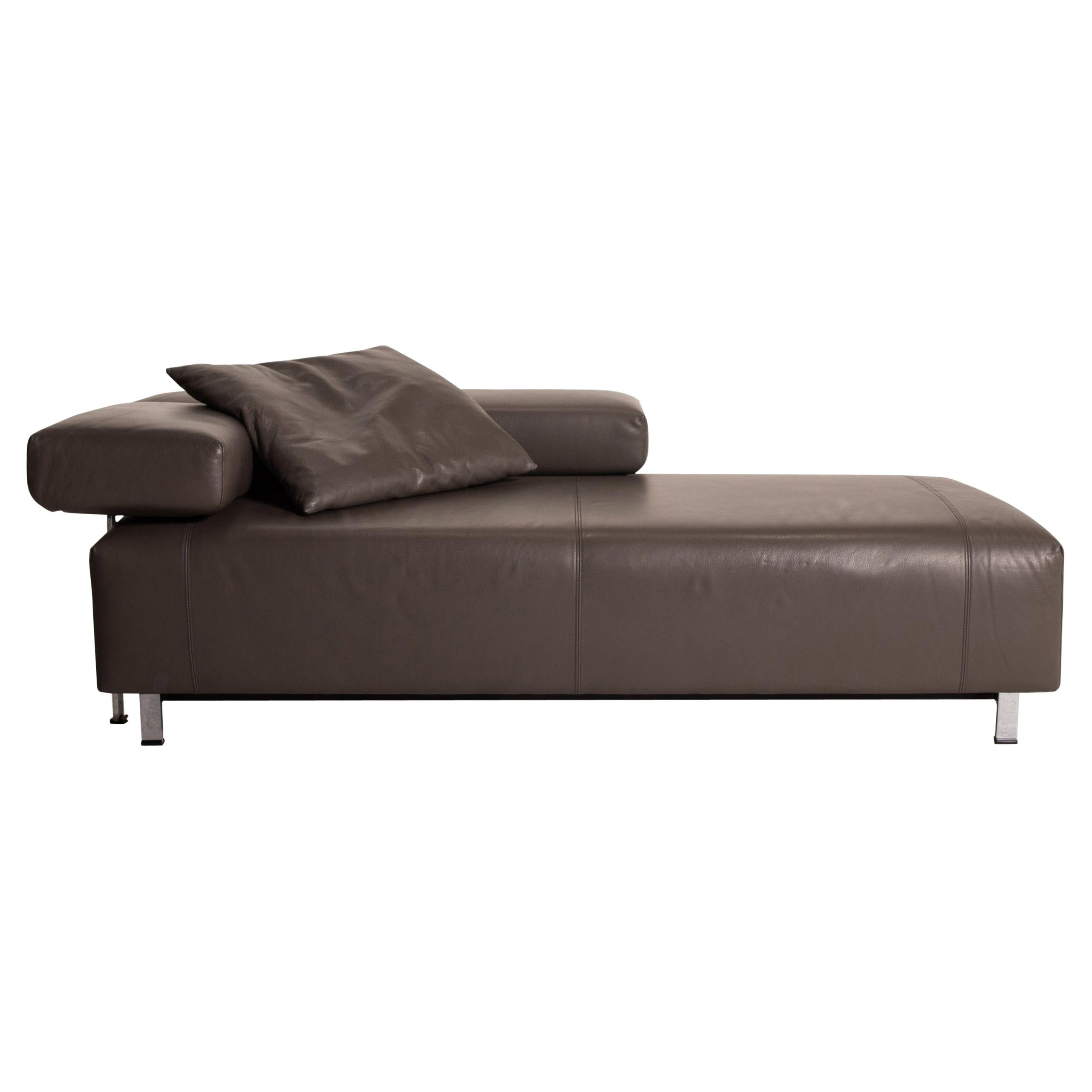 FSM Velas Leather Sofa Gray Two-Seater Function Lounger Couch