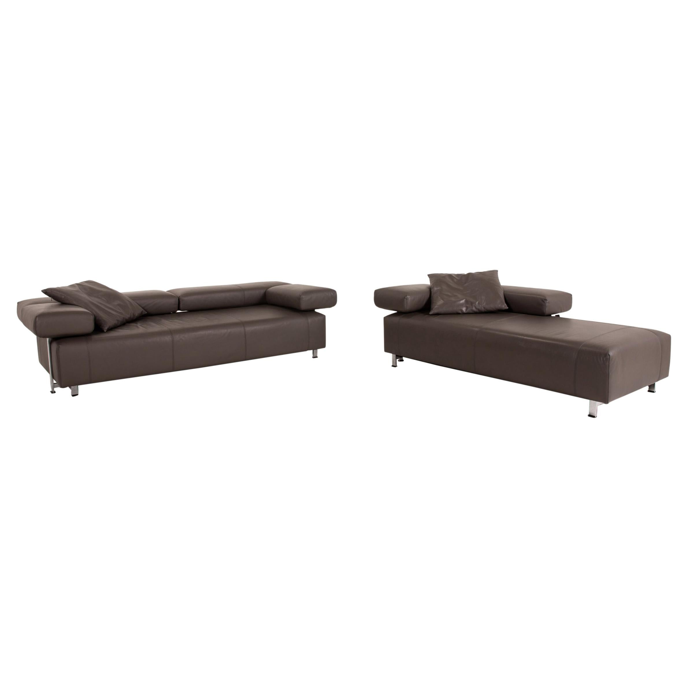 FSM Velas Sofa Set Gray 1 Three-Seater 1 Two-Seater Function Couch