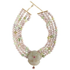 Fu Dog Necklace Antiques Jade Pearls Rose Tourmaline Gold