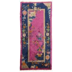 Fuchsia Chinese Art Deco Rug