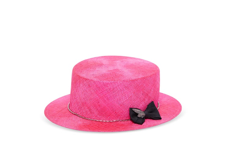 Fuchsia embellished hat NWOT totally handmade in Italy  FABRIC COLOR: Fuchsia    DECORATION: Metal spiral/feather veil