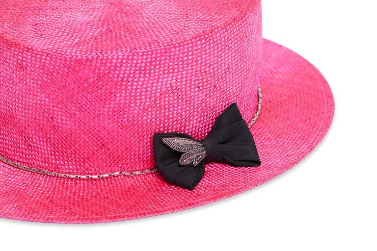 Pink Fuchsia embellished hat NWOT For Sale