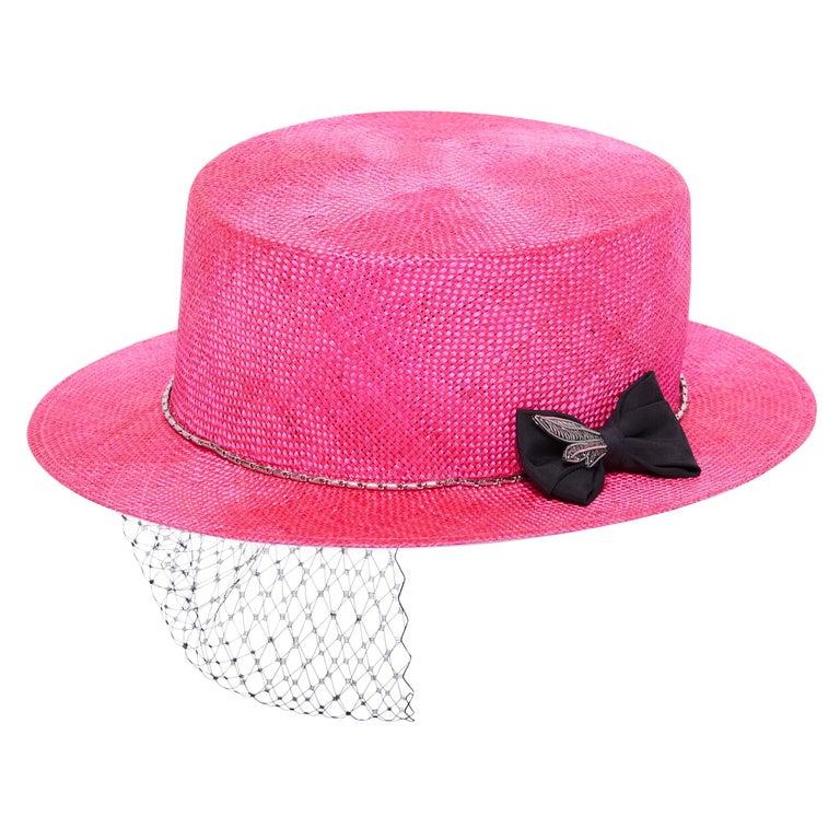 Fuchsia embellished hat NWOT For Sale
