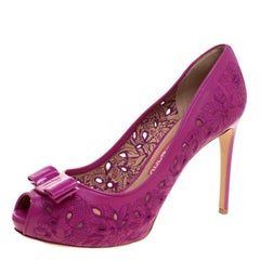 Fuchsia Floral Embroidered Leather Plum Vara Bow Peep Toe Pumps Size 40