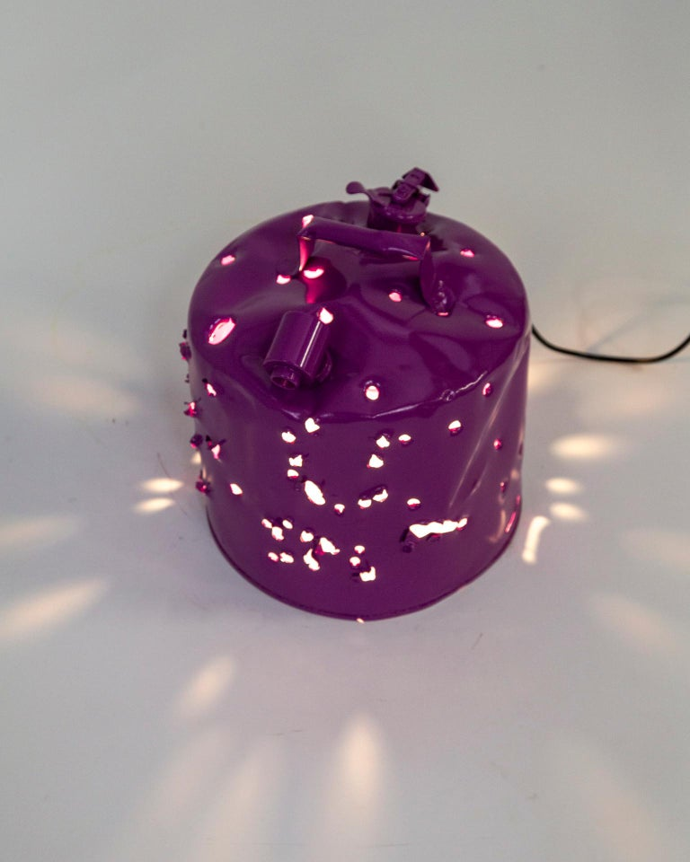 Powder-Coated Fuchsia Purple Bullet Hole Gas Can Lamp by Charles Linder For Sale