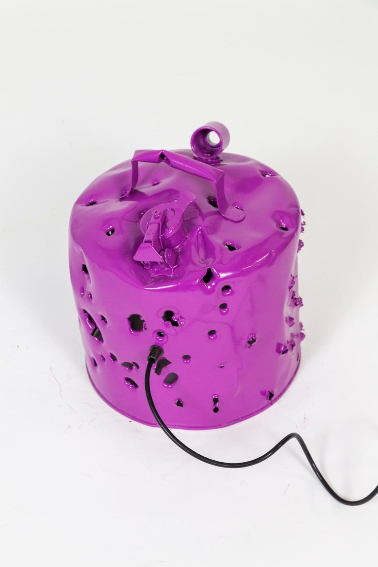 Contemporary Fuchsia Purple Bullet Hole Gas Can Lamp by Charles Linder For Sale