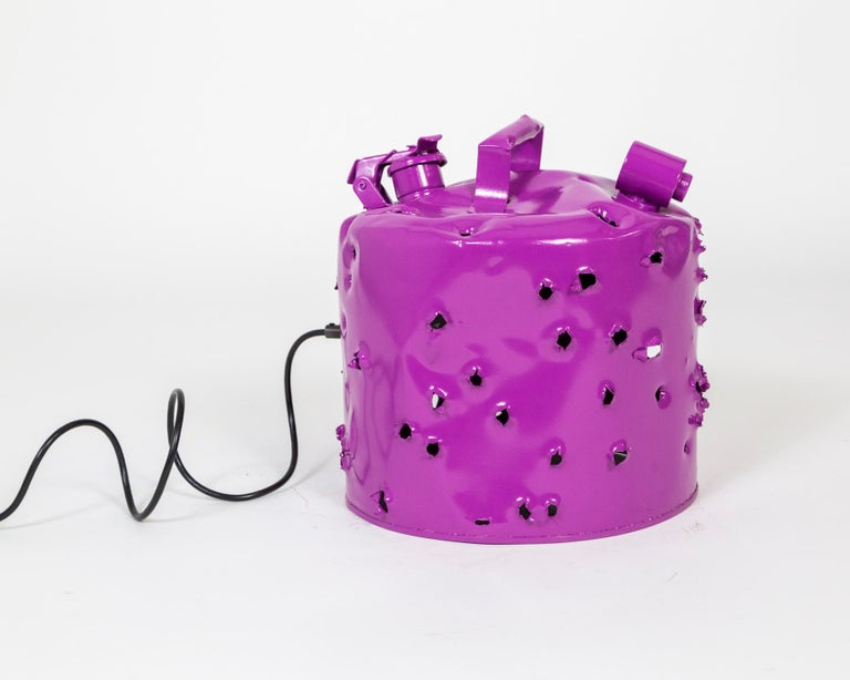 Metal Fuchsia Purple Bullet Hole Gas Can Lamp by Charles Linder For Sale