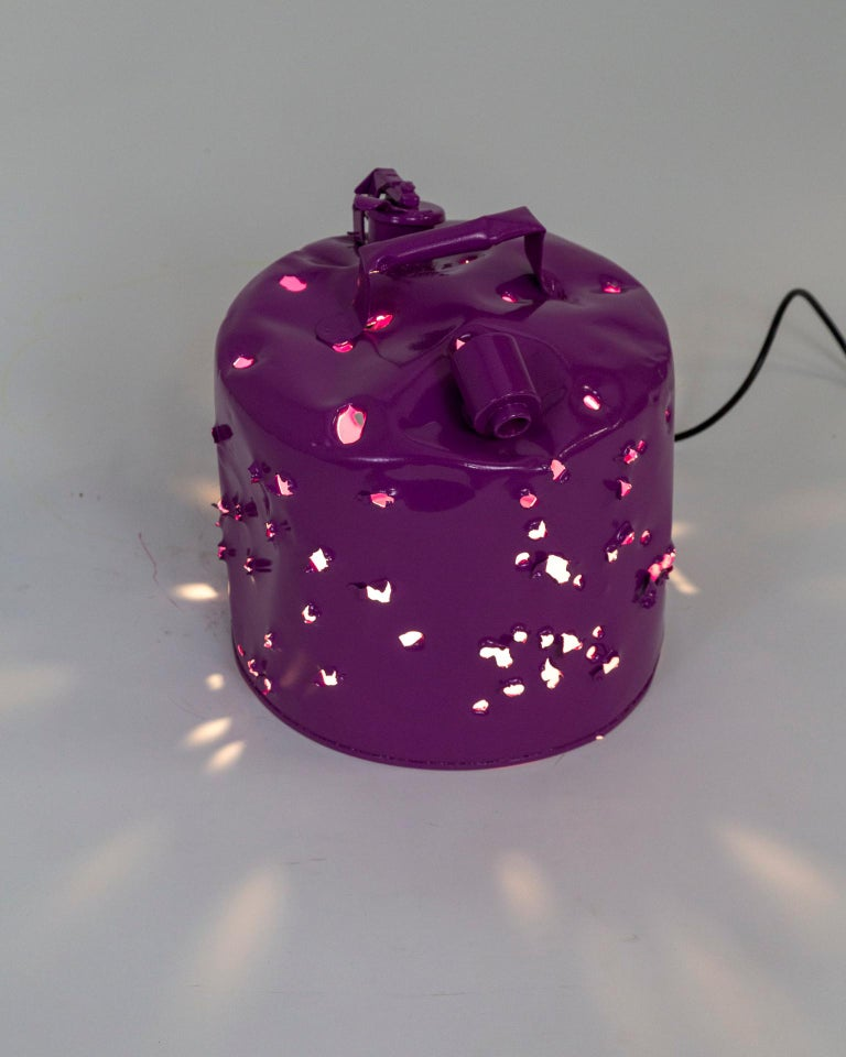 Fuchsia Purple Bullet Hole Gas Can Lamp by Charles Linder For Sale 1
