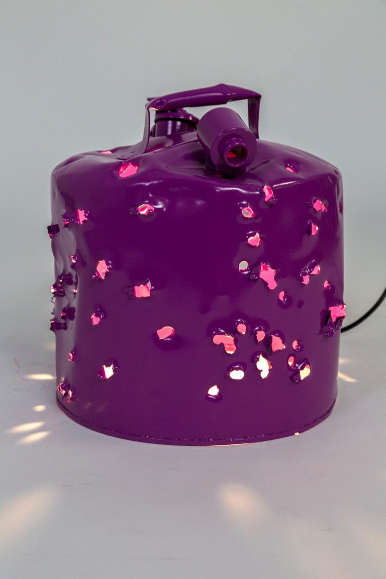 Fuchsia Purple Bullet Hole Gas Can Lamp by Charles Linder For Sale 2
