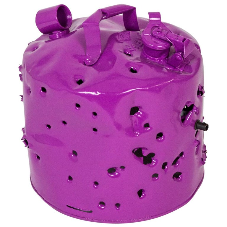 Fuchsia Purple Bullet Hole Gas Can Lamp by Charles Linder For Sale