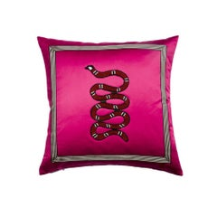 Fuchsia Satin Snake Application pillow/cushion