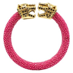 Fucsia Galuchat Skin Bangle Bracelet with Panther Head Gold-Plated