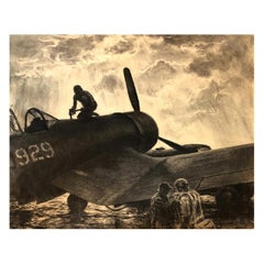 """Fueling the Fighter"" WWII Charcoal Drawing Vought F4U Corsair"