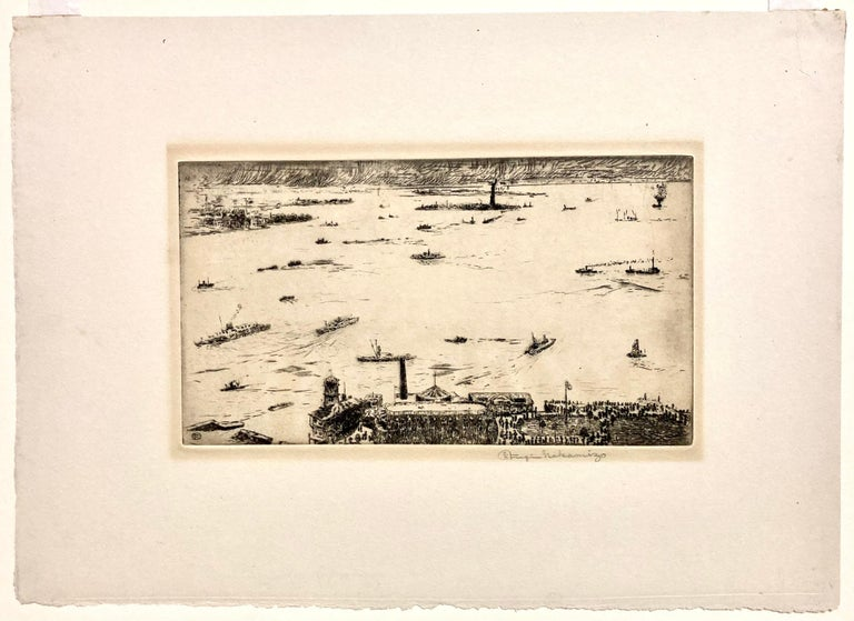 New York Harbor from the Battery - American Modern Print by Fugi Nakamizo