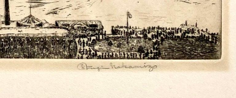 New York Harbor from the Battery - Beige Landscape Print by Fugi Nakamizo
