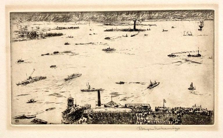 Fugi Nakamizo Landscape Print - New York Harbor from the Battery