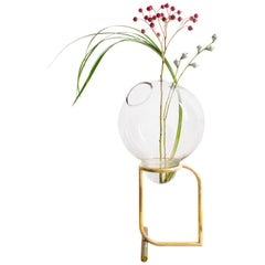 Fugu, Blown Glass Table Vase with Hand crafted Brass Base