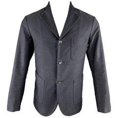 FUJITO 38 Short Navy Cotton Patch Pocket Sport Coat