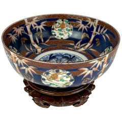 Fukagawa Imari Blue Background Bowl and Stand, Meiji Period