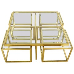 Full Brass Coffee Table by Maison Charles