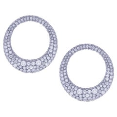 Full Diamond 18 Karat White Gold Orbit Earrings