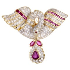 Full Diamond and Ruby Yellow Gold Swan Pendant or Brooch