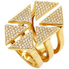 Full Diamond Floating Triangle Geometric Ring 18 Karat Yellow Gold