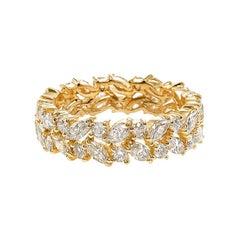 Full Eternity Diamond Wedding Ring with Marquise Cut Diamond and Round Diamond