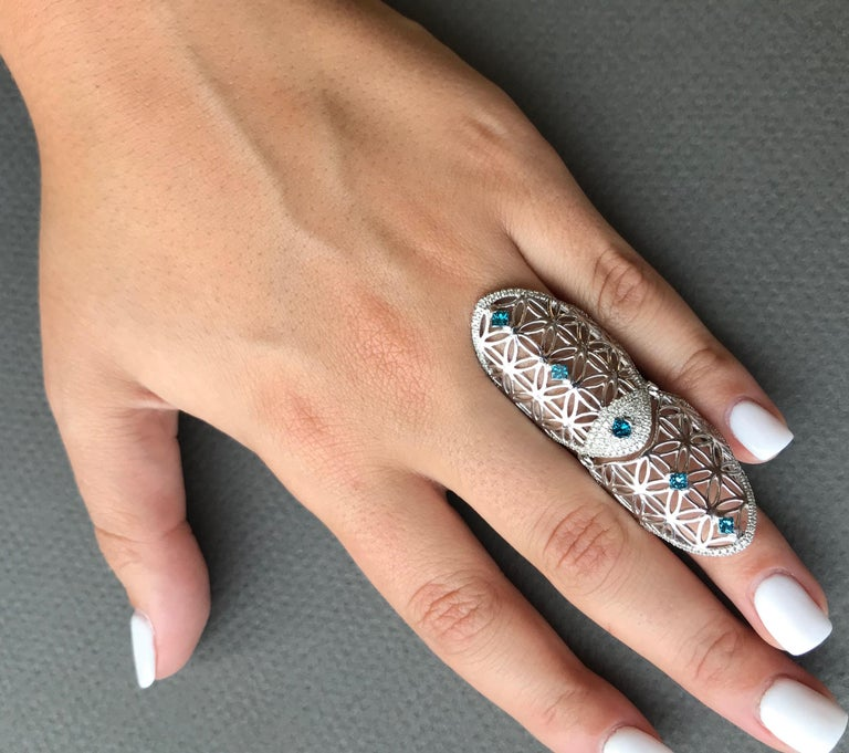 Round Cut Full Finger Fancy Blue Diamond Claw Ring For Sale