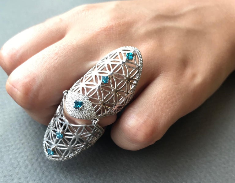 Full Finger Fancy Blue Diamond Claw Ring In New Condition For Sale In GREAT NECK, NY
