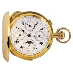 Full Hunter Minute Repeating Calendar Pocket Watch Vintage Gents 18k Yellow Gold