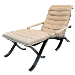 Full leather vintage Folding Lounge Chair with Ottoman by Ingmar Relling, 1970s