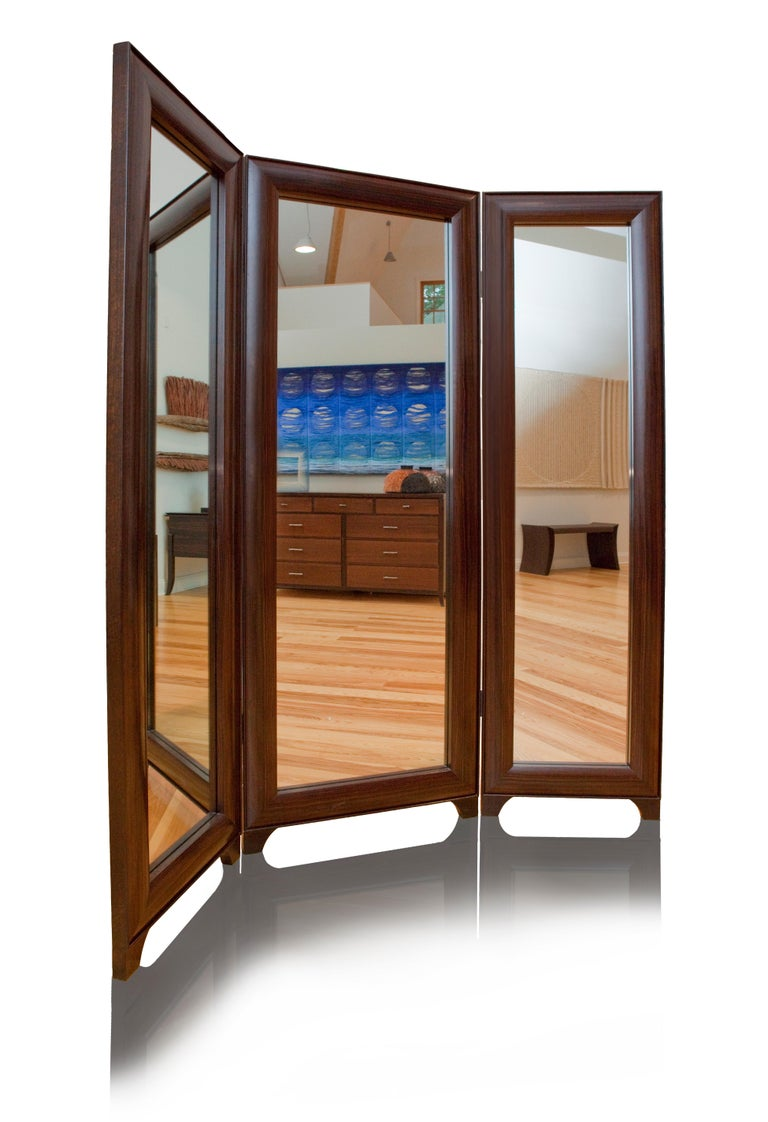 Contemporary Full Length Dressing Mirror in Macassar Ebony -  Customizable In Exotic Wood For Sale