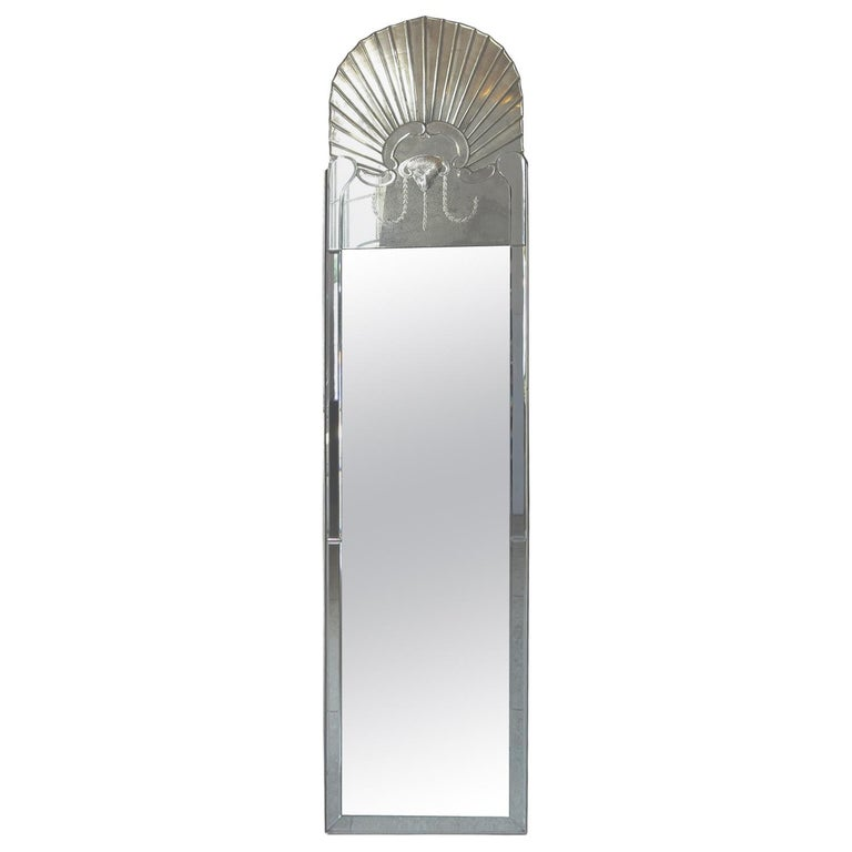 Full Length Dressing Mirror with Etched Rams Head Motif For Sale