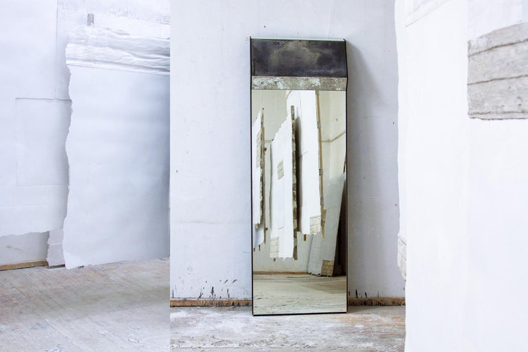 Modern Full Length Leaning Wood Framed K2 Mirror Outlined in Polished or Silvered Brass For Sale