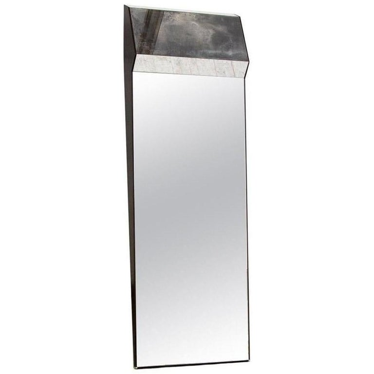Full Length Leaning Wood Framed K2 Mirror Outlined in Polished or Silvered Brass For Sale