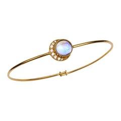 Gold, Diamond, Moonstone, Full Moon, Bracelet, Bangle