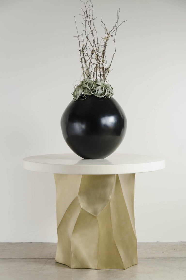 Lacquered Full Moon Jar in Black Lacquer by Robert kuo, Limited Edition For Sale