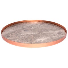 Full Moon Large Copper and Gris du Marais Marble Tray by Elisa Ossino