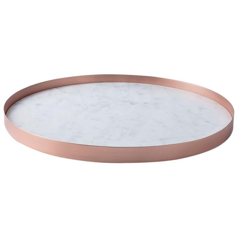 Full Moon Medium Copper and Carrara Marble Tray by Elisa Ossino For Sale