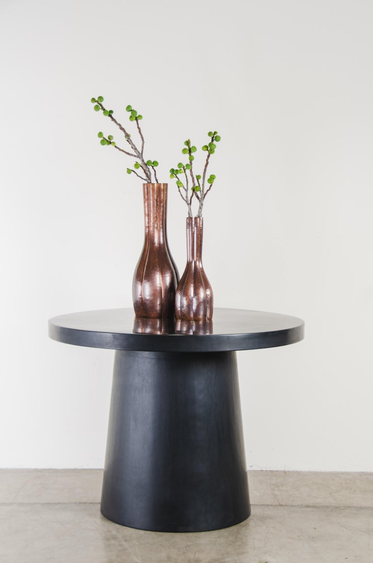 Full Moon Table, Black Lacquer by Robert Kuo, Handmade, Limited Edition For Sale 1