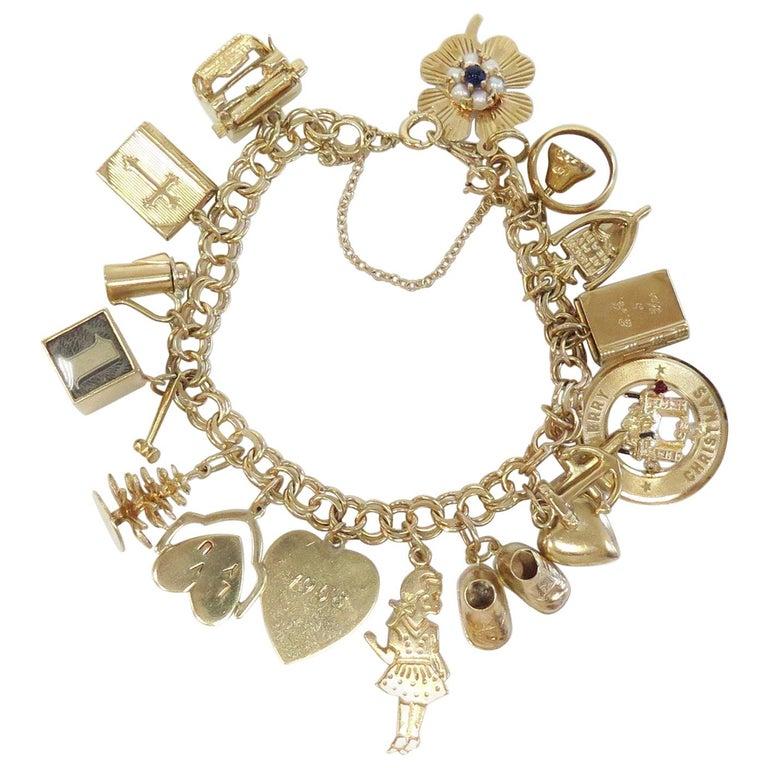 Full Of Charms 1950s Charm Bracelet 14 Karat Yellow Gold For