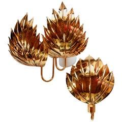 Full Set of 9 Palm Sconces, Brass Gold-Plated, Maison Jansen Attribution
