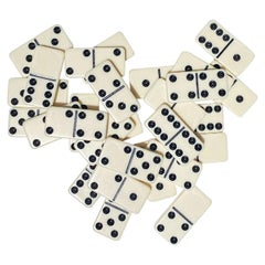Full Set of Midcentury Black and White Vintage Dominoes in Original Packaging