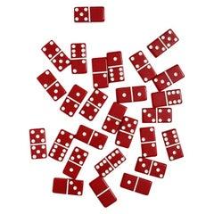 Full Set of Midcentury Red and White Vintage Dominoes in Original Packaging