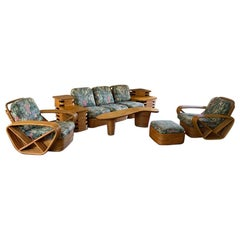 Full Set of Paul Frankl Art Deco Square Pretzel Sectional Rattan Furniture