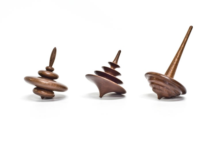 Modern Set of 3 Small Elemental Spinning Tops in Oiled Walnut by Alvaro Uribe for Wooda For Sale