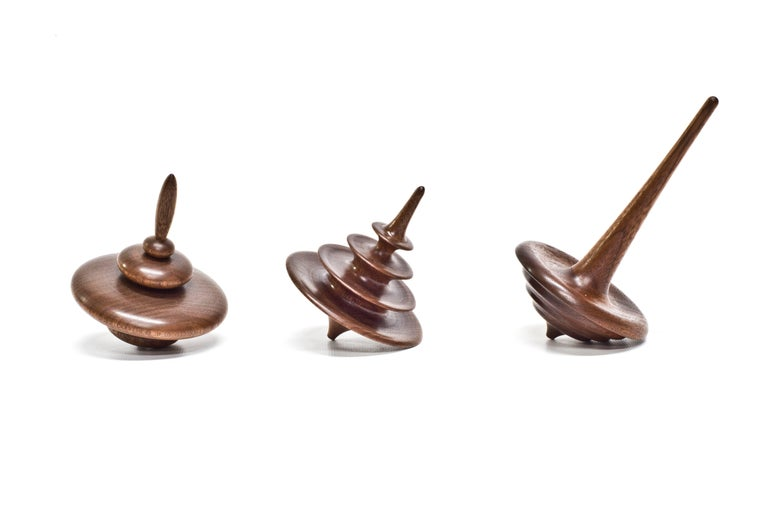 American Set of 3 Small Elemental Spinning Tops in Oiled Walnut by Alvaro Uribe for Wooda For Sale